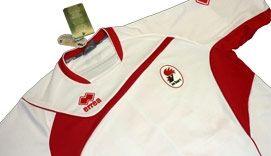 Un particolare della prima maglia del Bari 2009-2010