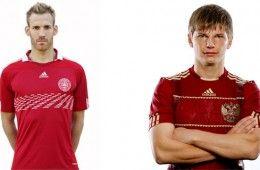 Maglie Russia e Danimarca 2010-2011