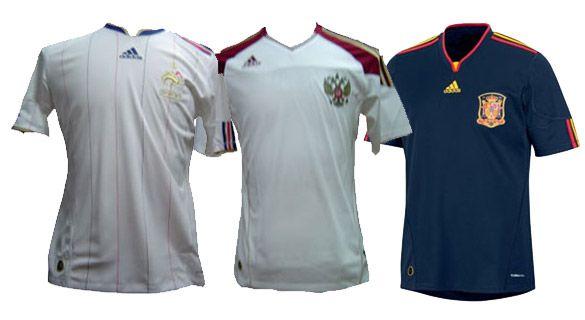 Maglie Francia, Spagna e Russia 2010