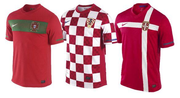 Maglie Portogallo, Croazia, Serbia