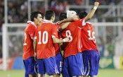 I calciatori del Cile esultano