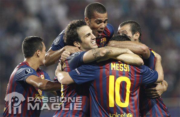 Giocatori Barcellona in festa nella Supercoppa Europea 2011