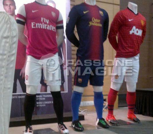 Arsenal, Manchester United e Barcellona maglie 2012-2013