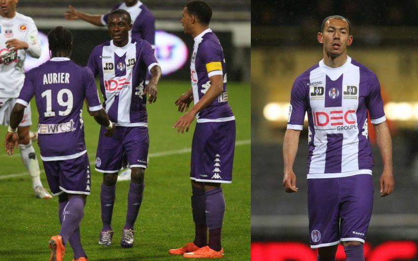 Il Tolosa indossa la maglia 2012-2013 contro l'Ajaccio