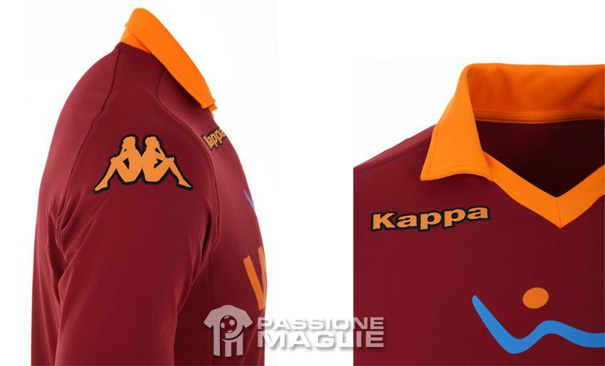 Particolari prima maglia Roma Kappa