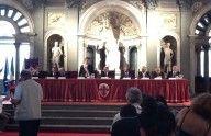 La conferenza stampa nel Salone dei Cinquecento