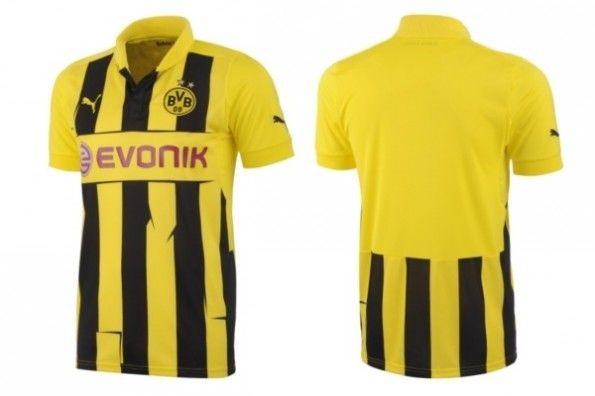 Fronte e retro della maglia europea del Borussia Dortmund 2012-2013