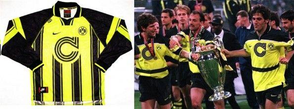 La maglia del Borussia Dortmund per la Champions League 1996/97, non indossata in finale