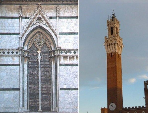 Finestra in stile gotico del Duomo di Siena e la Torre del Mangia