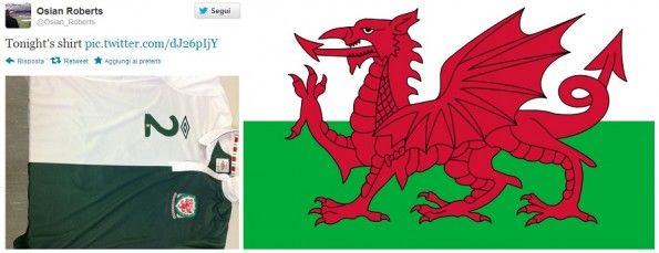 Il tweet di Osain Roberts e la bandiera gallese