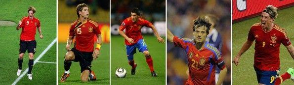 2008-2012: le cinque diverse maglie della Spagna