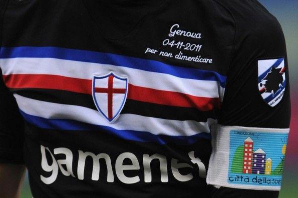 Ricamo maglia nera Sampdoria alluvione