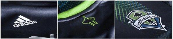 Dettagli della maglia da trasferta 2013 dei Seattle Sounders