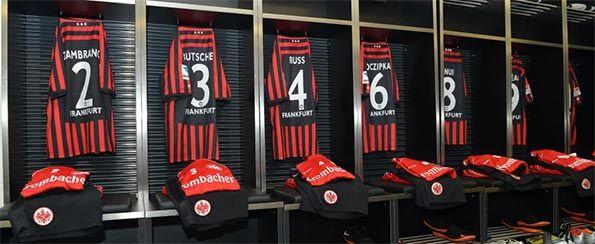Lo spogliatoio dell'Eintracht Francoforte