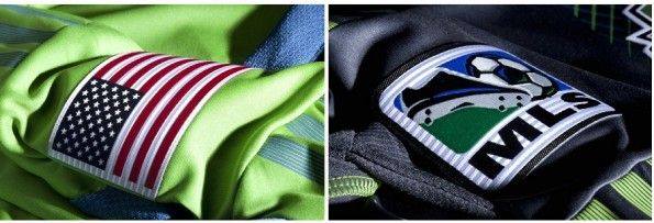 Dettaglio delle tre strisce delle casacche dei Seattle Sounders