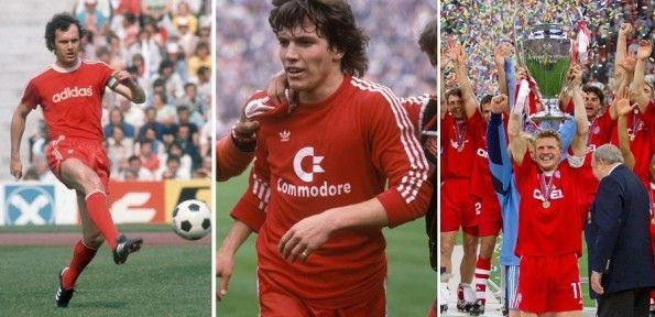 Beckembauer, Matthaus ed Effemberg con la maglia del Bayern Monaco