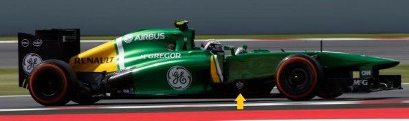 Monoposto Caterham Formula 1 stemma QPR sul deflettore