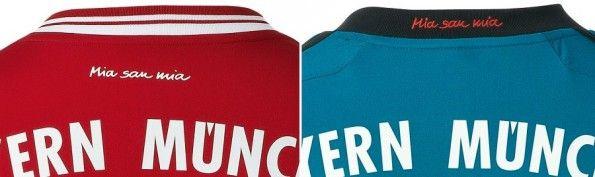 Lo slogan Mia San Mia riportato sulle maglie del Bayern Monaco 2013-2014