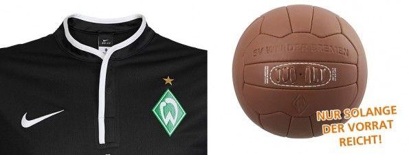 Colletto maglia nera Werder Brema 2013-14 e pallone vintage