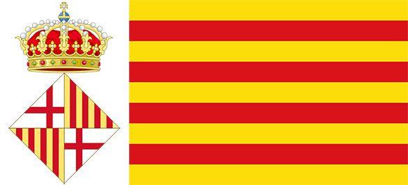 Stemma di Barcellona e bandiera della Catalogna