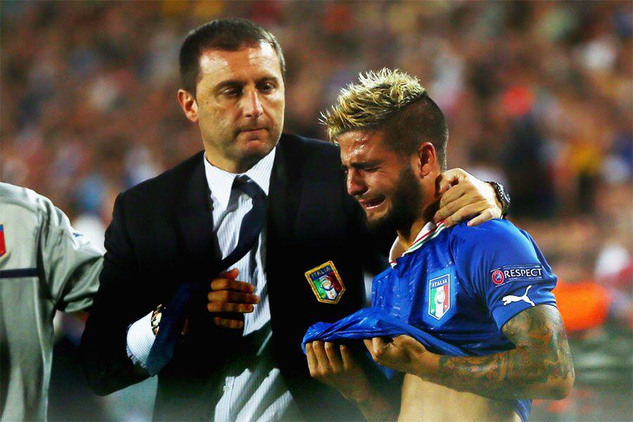 Lorenzo Insigne in lacrime finale Italia-Spagna