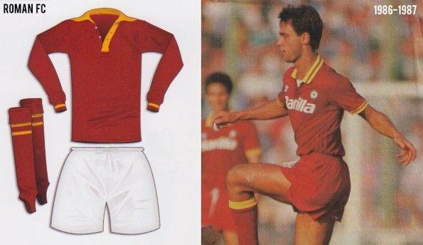 Divise del Roman FC e della Roma negli anni 80