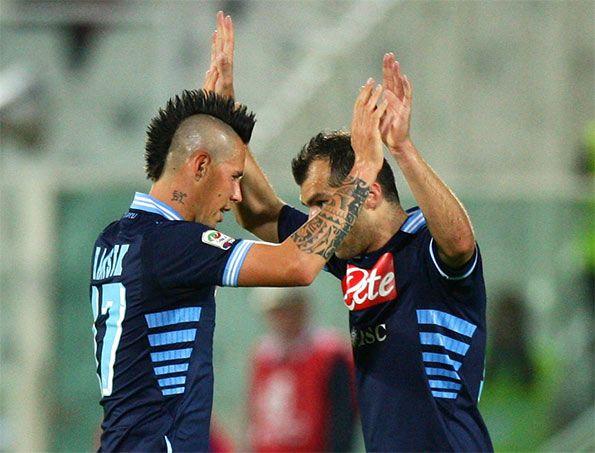 Hamsik e Pandev con la maglia del Napoli