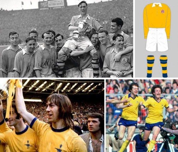 Le varie maglie gialle dell'Arsenal durante la storia