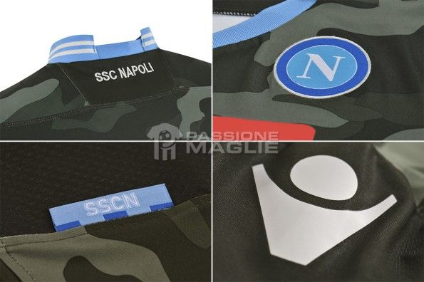 Dettagli maglia mimetica Napoli Champions League