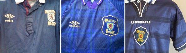 Dettagli tartan maglie Umbro della Scozia 1990, 1996 e 1998