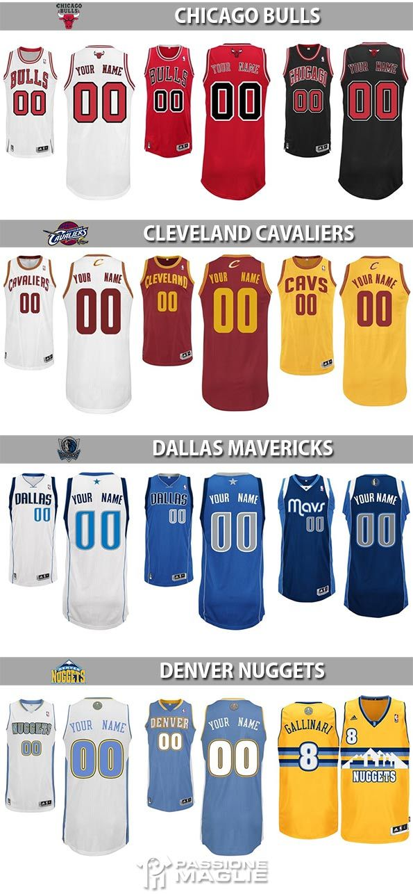 Divise NBA Bulls, Cavs, Mavericks, Nuggets