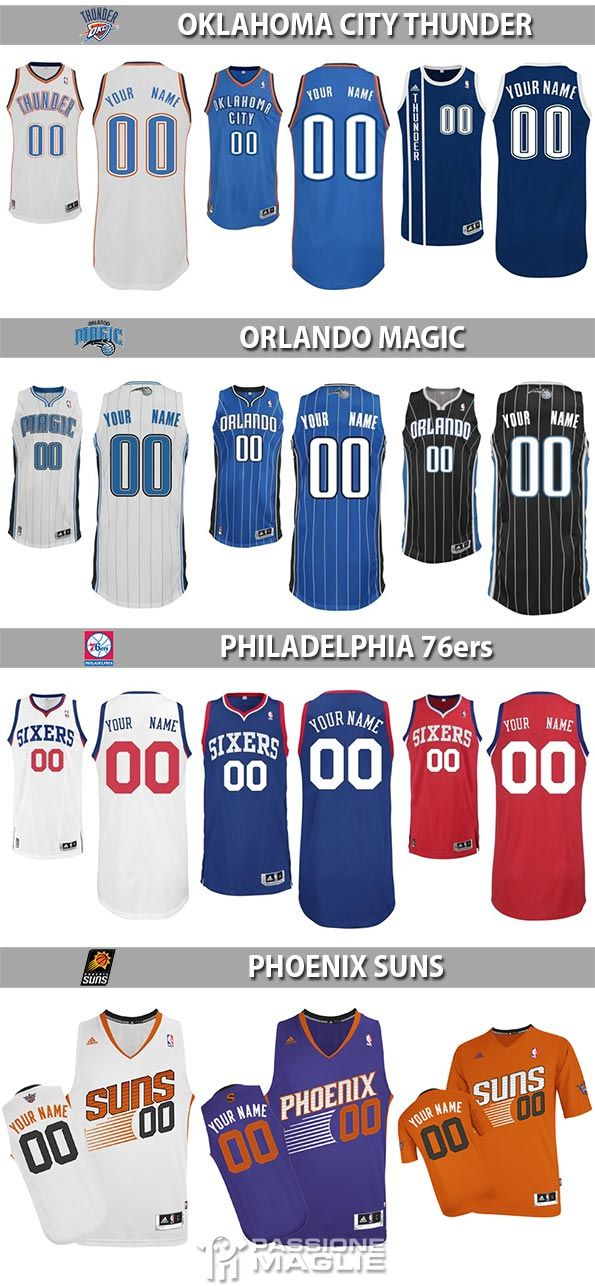Maglie NBA Thunder, Magic, 76ers, Suns