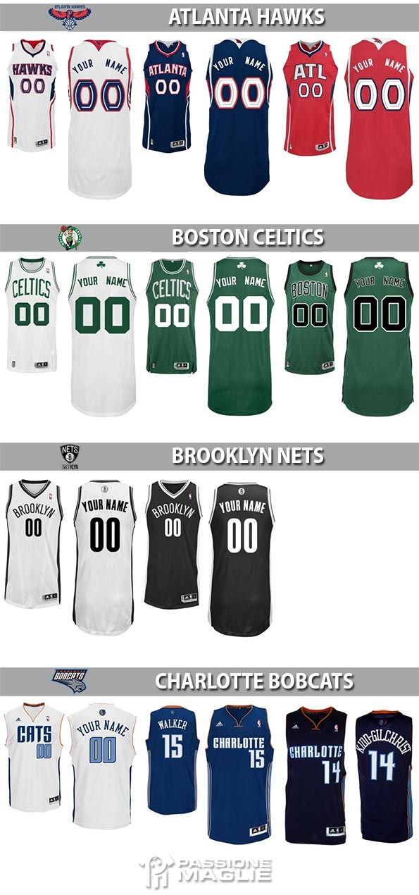 Maglie NBA 2013-14 Atlanta, Boston, Brooklyn, Charlotte