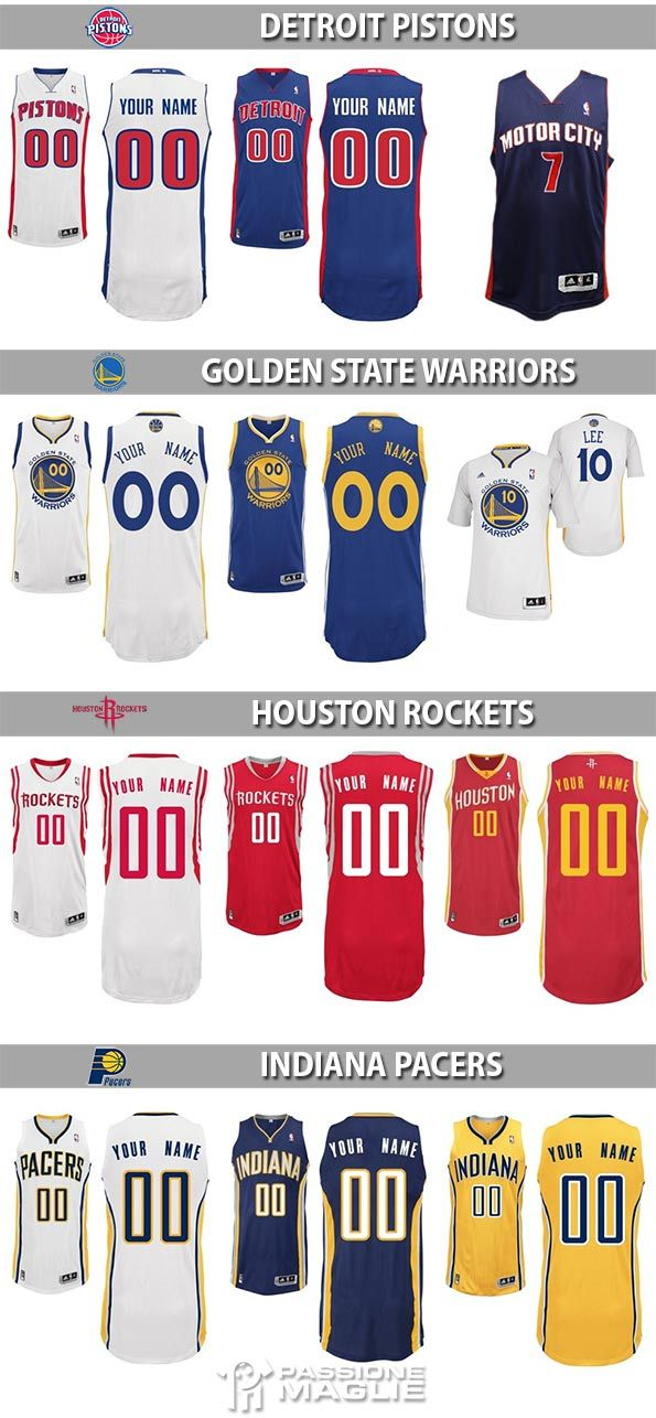 Maglie NBA Pistons, Warriors, Rockets, Pacers