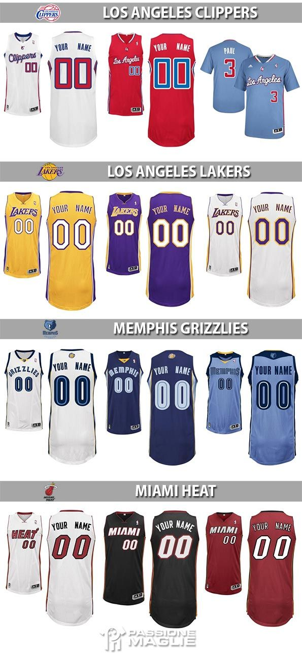 Divise NBA Clippers, Los Angeles Lakers, Grizzlies, Heat