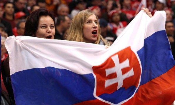 Slovacchia hockey ghiaccio tifosi bandiera