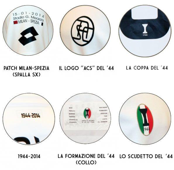 Dettagli maglia Spezia celebrativa 70 anni scudetto