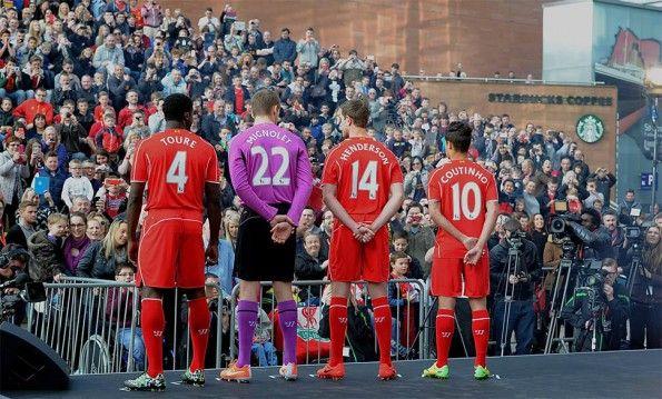 Coutinho, Toure, Mignolet, Henderson Liverpool kit