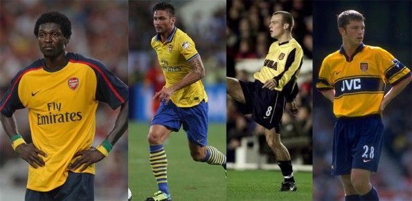 Adebayor, Giroud, Ljungberg, Hughes, Arsenal maglie