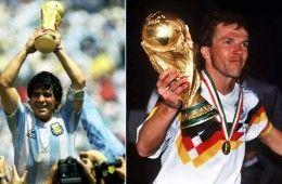 Maradona e Matthaus con la Coppa del Mondo