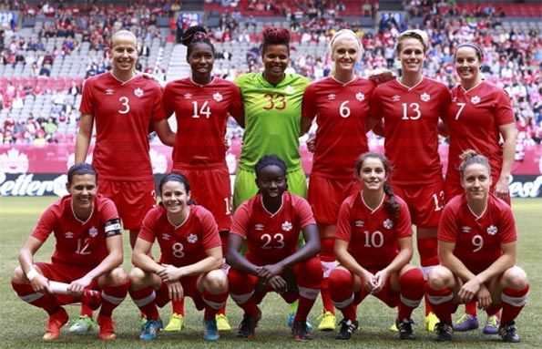 La nazionale del Canada femminile con la maglia 2014