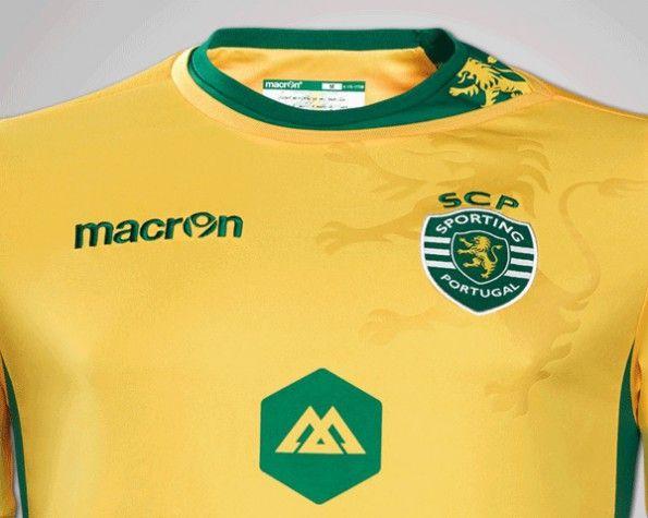 Dettagli maglia trasferta Sporting Lisbona Macron 2014-2015