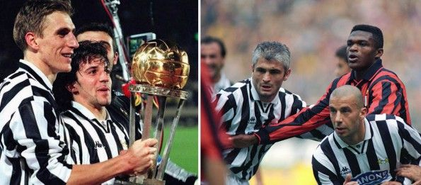Juventus, maglie anni novanta, sfalsamento righe fronte/retro