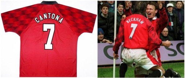 Maglie United Cantona 7 e Beckham 7