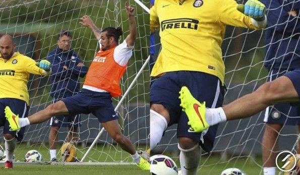 Osvaldo in allenamento con le Tiempo Legend