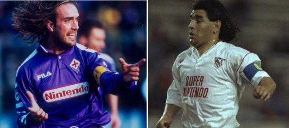 Batistuta e Maradona con Fiorentina e Siviglia