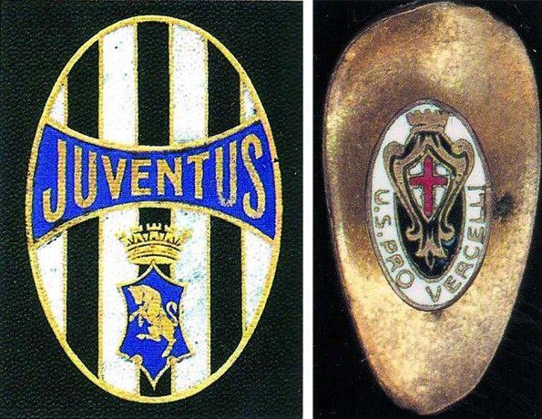 Stemma Juventus 1905 e spilla Pro Vercelli