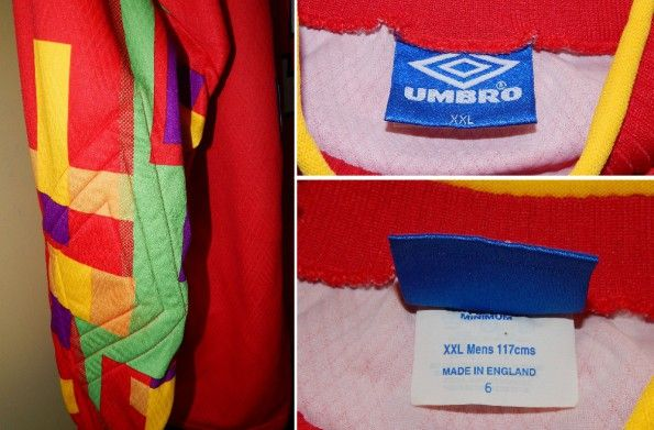 Dettagli maglia Inghilterra portiere 1996