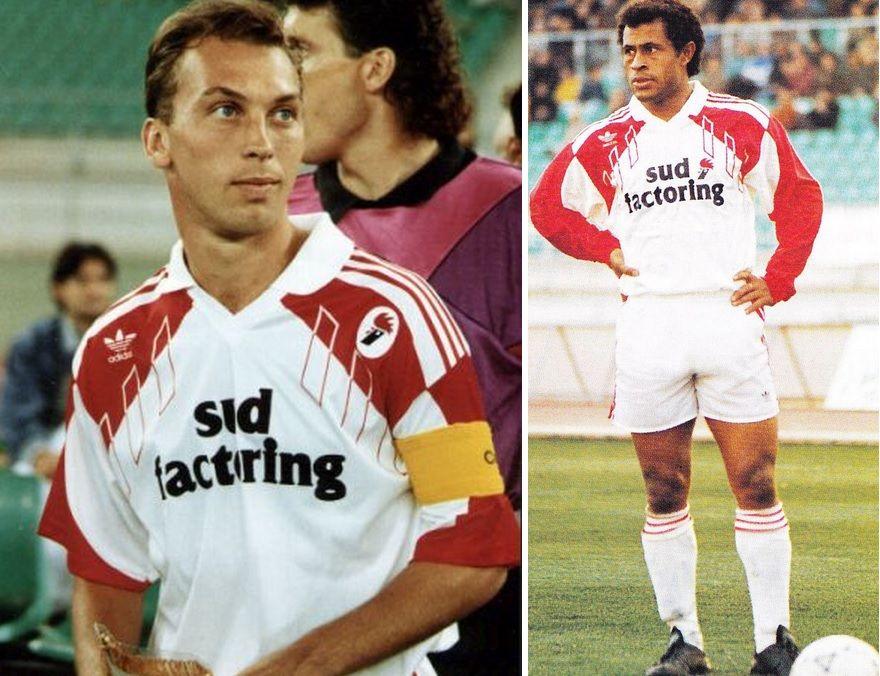 Platt e Joao Paulo con la maglia del Bari