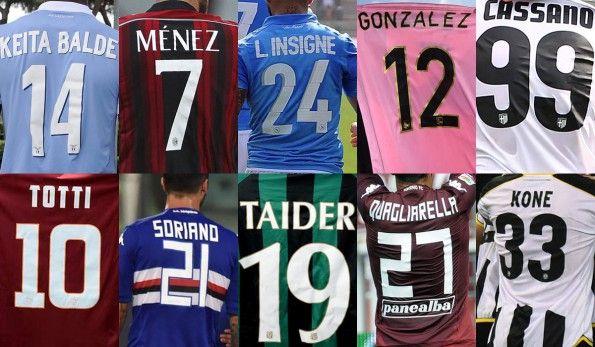 Serie A 2014-2015, carattere nome e numero divise